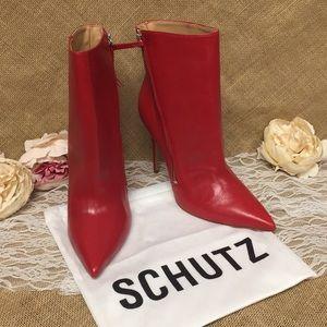 Schutz Olenka Pointed-Toe High-Heel Booties 10 Red